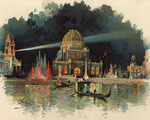 A Charles Graham lithograph of the Grand Court at night.